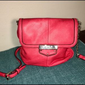 B Makowski Red Leather Crossbody